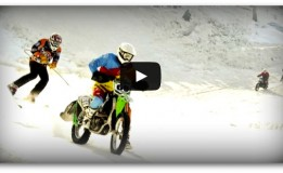 Ski Race Behind Motorcycle