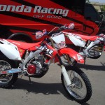 The 450x parked along side Timmy Weigands CRF250R for the ISDE