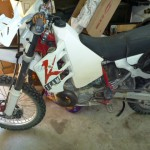 1992 KTM 250exc with new stabilizer, pegs and bags