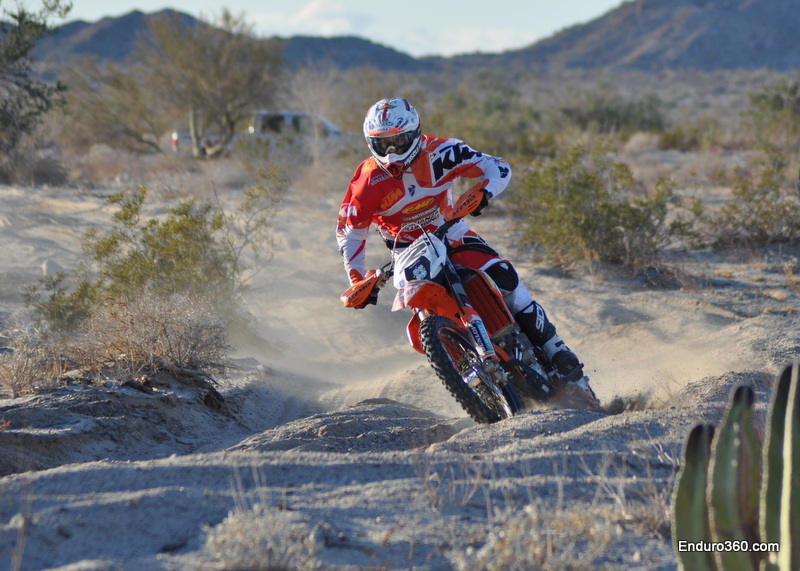 Kurt Caselli took the first half of the course and gave the bike to Ivan Ramirez with nice lead