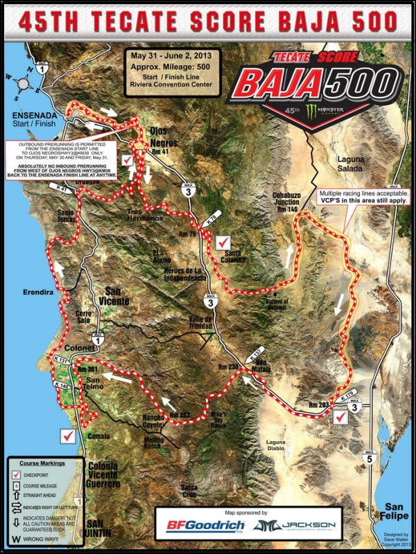 2013 Baja 500 Course Map