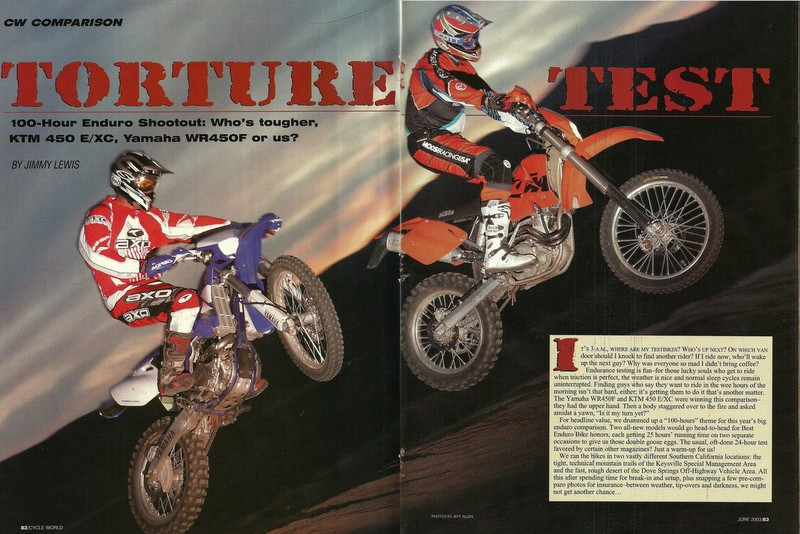 2003 Cycle World Magazine shootout. Todd Sciaqua and Myself in photo. Todd is doing all the work. My job is just to jump straight, then Todd follows as close as possible. Interestingly, this was the very first digital image to ever appear in CW magazine.