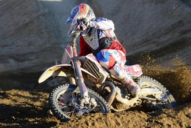 Nick Burson railing a Glen Helen Berm (Dirt Bike magazine photo)