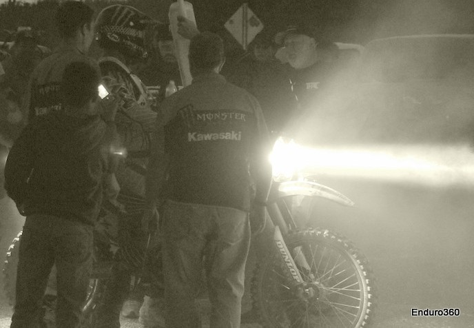 Kawasaki's David Pearson pits near San Ignacio during the 2012 Baja 1000