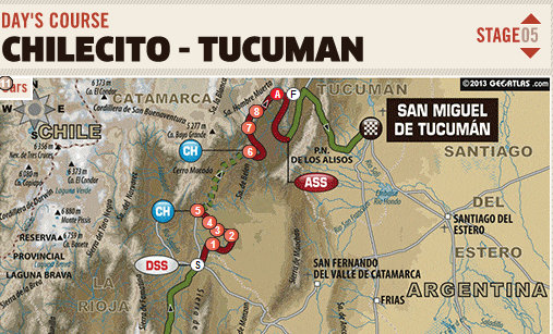 Dakar Rally stage 5 results