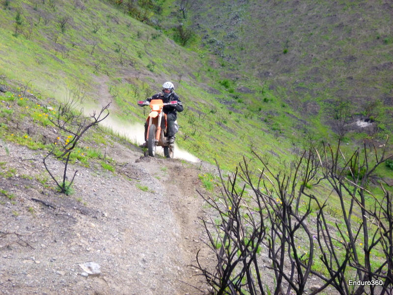 Aaron make the first sidehill climb