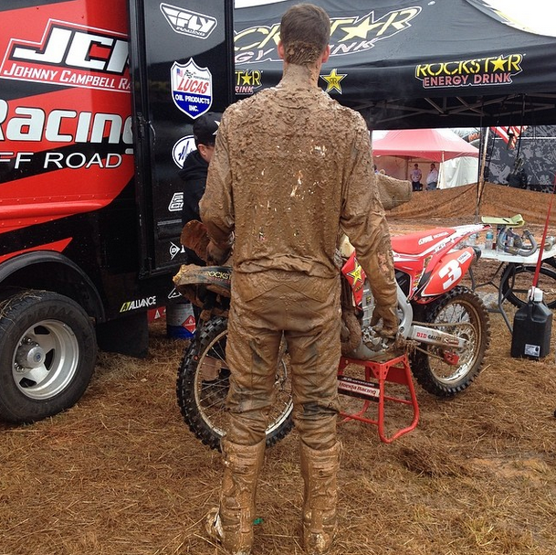 Chris Bach after a muddy day at The General, GNCC Racing