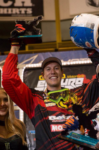 Cody Webb recorded three Endurocross wins in 2013 on a Beta motorcycle, back to back in Denver and Seattle and then the final in Las Vegas.