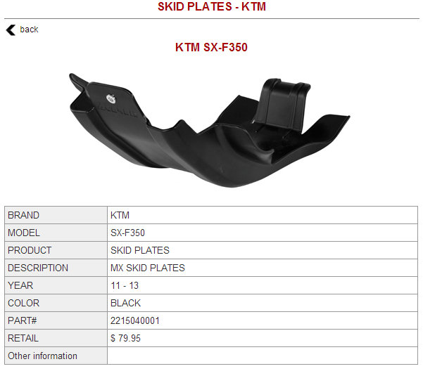 Acerbis skidplate for KTM