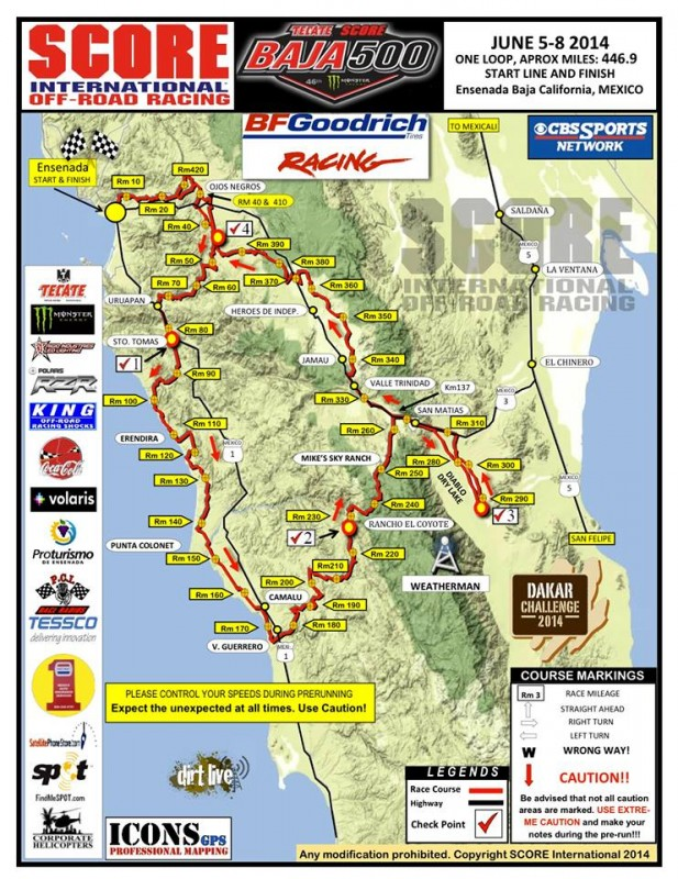 2014 Baja 500 Course Map