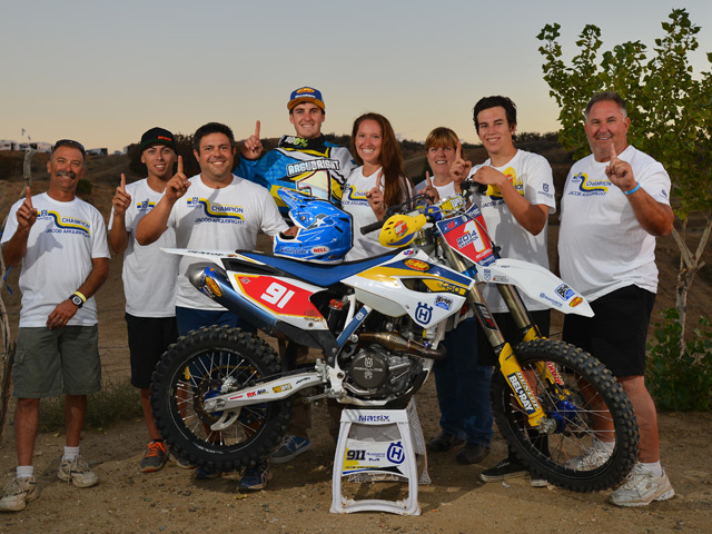 Jacob Argubright and team celebrate his AMA National Championship.  Photo by Mark Kariya