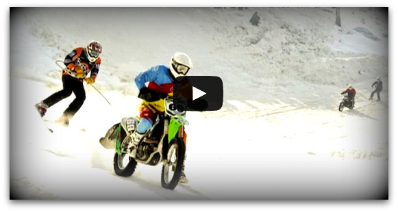 ski racing behind motorcycle